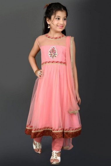 Light Pink Net Anarkali Suit with Embroidery