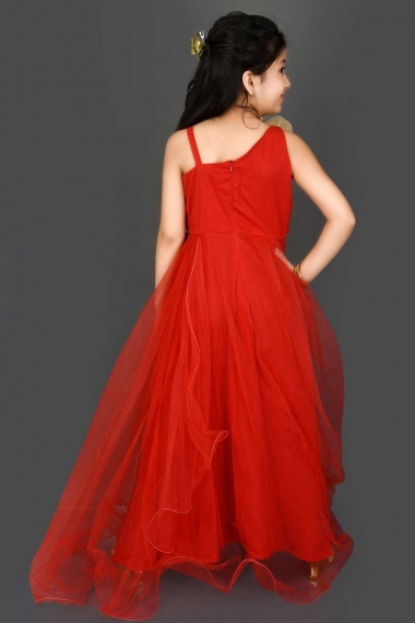 Red Net Gown with Mirror Work