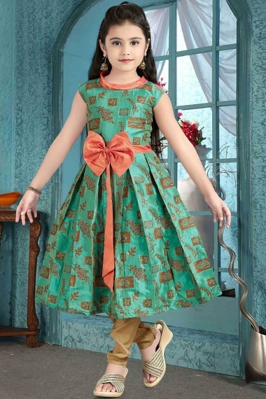 Pine Green Brocade Foil Printed Suit with Fancy Flower