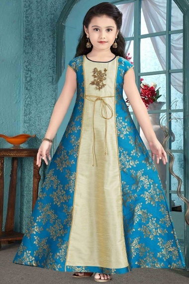 Turquoise Blue and Cream Broade Kids Wear Gown with Patch Work