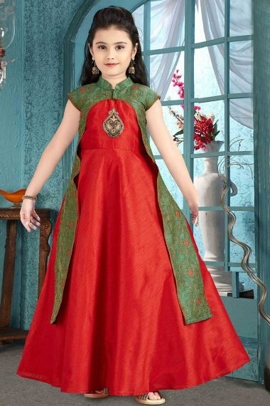 Red and Green Brocade Designer Gown with Patch Work
