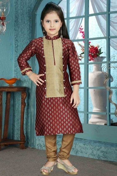 Maroon Brocade Foil Printed Straight Cut Suit with High Neck