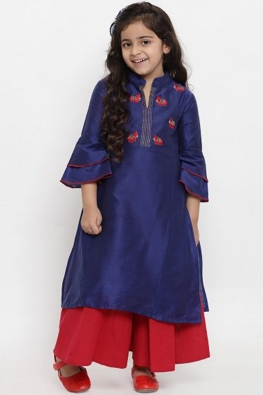 Navy Blue Dupion Silk Embroidered Straight Cut Palazzo Suit with Layered Bell Sleeves