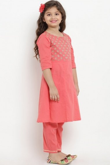 Peach Cotton Rayon Embroidered Suit