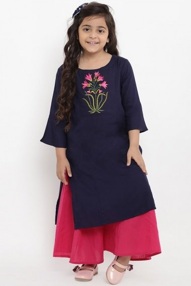 Navy Blue Cotton Rayon Straight Cut Palazzo Suit with Embroidery