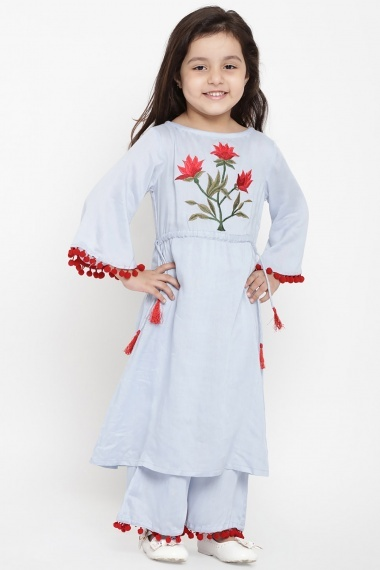 Sky Blue Cotton Rayon Embroidered Palazzo Suit with Pom Pom Sleeves