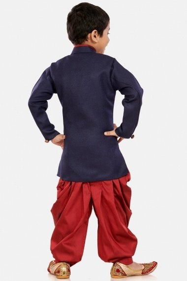 Blue Cotton Silk Angrakha Style Indo Western Outfit