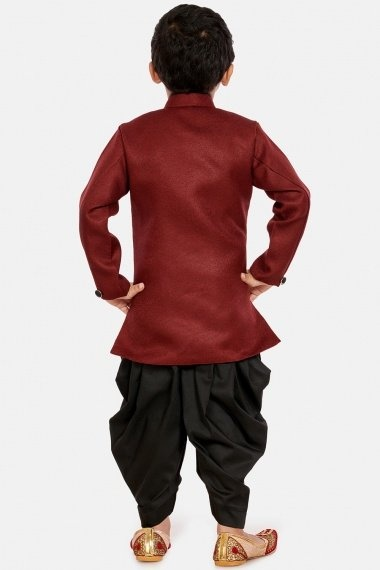 Maroon Cotton Silk Indo Western Outfit