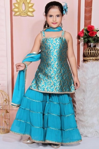 Turquoise Blue Jacquard Woven Straight Cut Sharara Suit