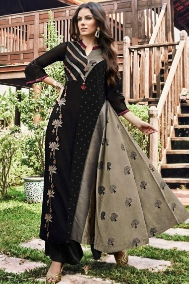Black and Beige Muslin Silk Embroidered Kurti with Foil Print