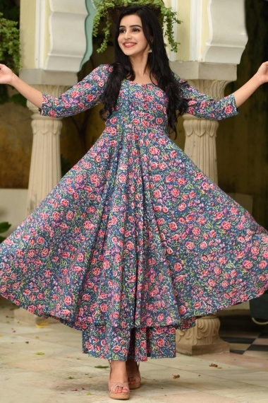 Blue Muslin All Over Pink Floral Printed Anarkali Kurti with Palazzo