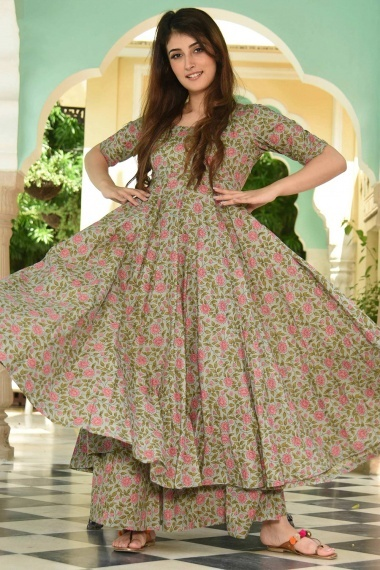 Sage Green Muslin All Over Pink Floral Printed Anarkali Kurti with Palazzo