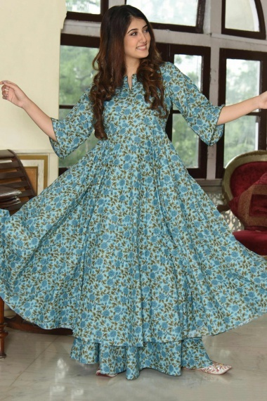 Light Blue Muslin All Over Floral Printed Anarkali Kurti with Palazzo