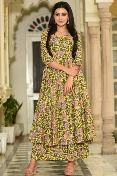 Yellow Muslin All Over Floral Printed Anarkali Kurti with Palazzo