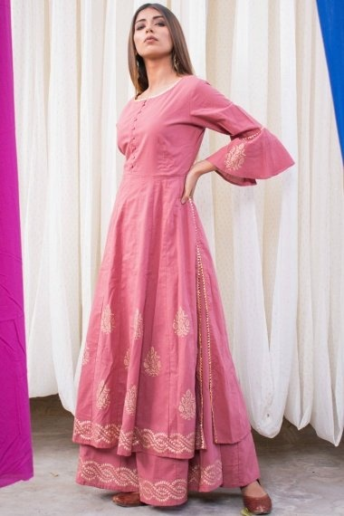 Dusty Pink Cotton Bell Sleeves Kurti with Palazzo