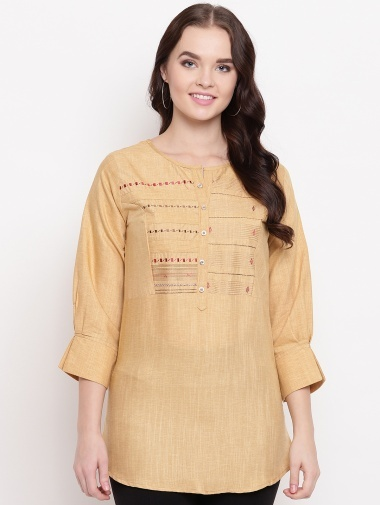 Beige Cotton Embroidered Tunic with Buttons