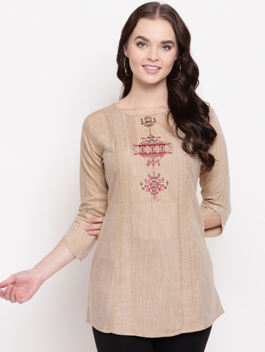 Light Beige Cotton Embroidered Tunic with Buttons