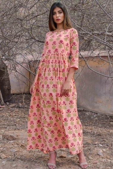 Peach Cotton All Over Floral Printed Long Kurti