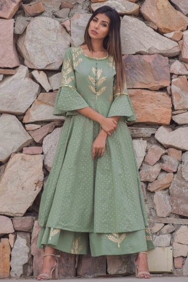 Sage Green Cotton Foil Printed Anarkali Long Kurti with Bell Sleeved and Palazzo