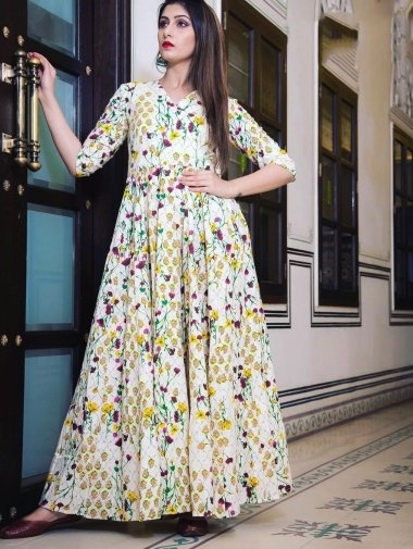 Off White Muslin Long Kurti with Floral Print