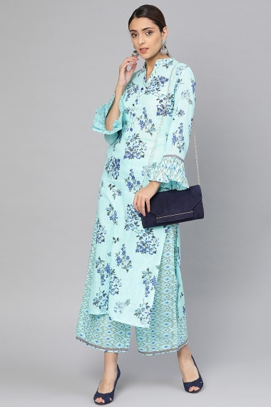 Sky Blue Cotton Printed Bell Sleeves Kurti with Palazzo