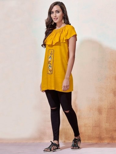 Yellow Rayon Cap Style Tunic with Thread Embroidery