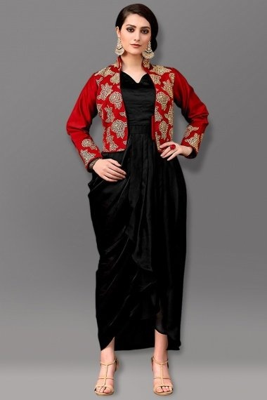 Black Dupion Silk Crop Top with Dhoti and Jacket