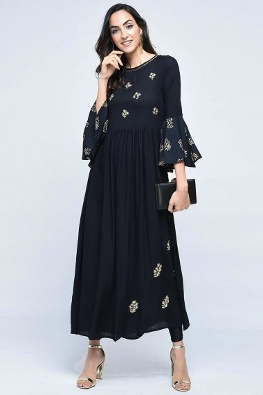 Black Georgette Embroidered Kurti with Bell Sleeves
