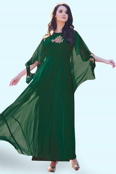 Green Georgette Floral Embroidered Long Kurti Fancy Sleeve