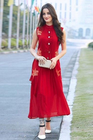 Red Georgette Embroidered Fancy Kurti