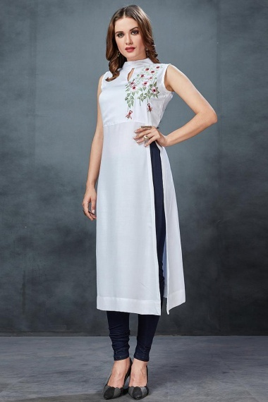 Pearl White Floral Embroidered Side Slit Cut Kurti