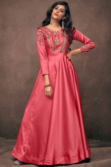 Pink Satin Silk Floral Embroidered Long Kurti with Stone