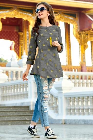 Grey Cotton Checks Printed Tunic with Embroidery