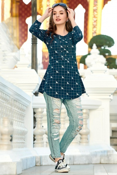 Peacock Blue Cotton Checks Printed Tunic with Embroidery