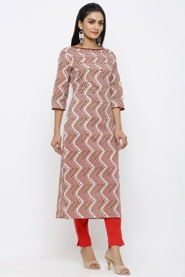 Off White Cotton Zigzag Printed Straight Cut Kurti with Pant