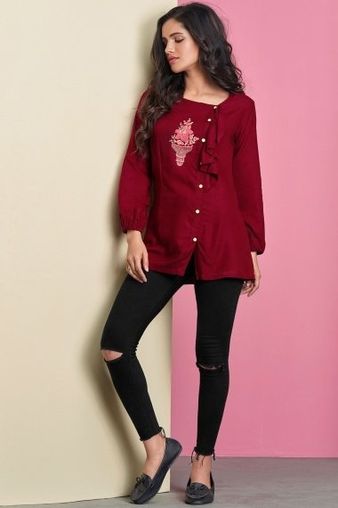 Maroon Rayon Embroidered Fancy Tunic with Puff Sleeves