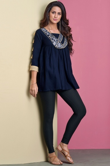 Blue Rayon Embroidered Tunic with Tassels