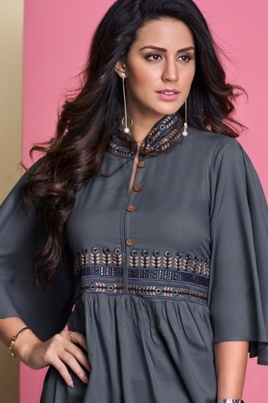 Grey Rayon Embroidered Tunic with Cape Sleeves