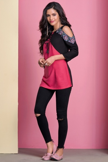 Coral Pink and Black Rayon Embroidered Cold Sholders Tunic