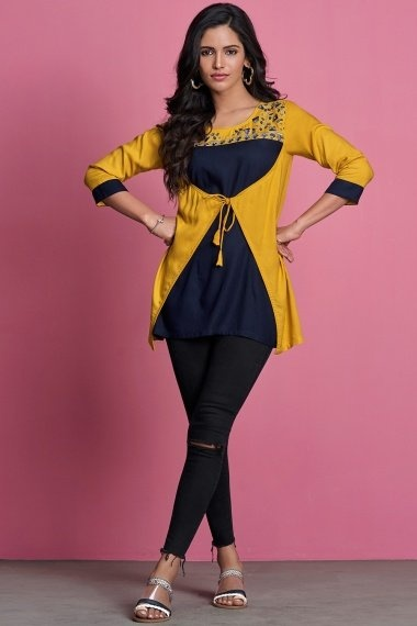 Navy Blue and Mustard Rayon Fancy Tunic with Embroidery