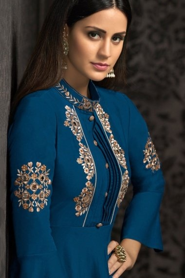 Prussian Blue Muslin Embroidered Long Kurti with Bell Sleeves
