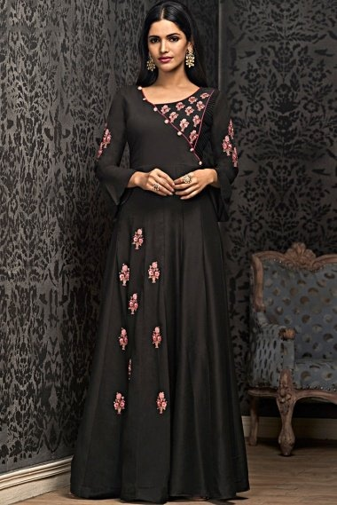 Black Muslin Embroidered Long Kurti with Bell Sleeves