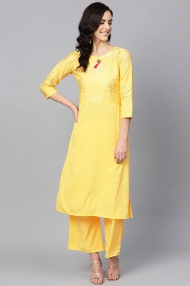 Yellow Crepe Straight Cut Kurti with Foil-Print