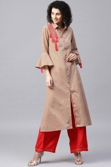 Light Brown Cotton Straight Cut Kurti with Palazzo and Bell Sleeves
