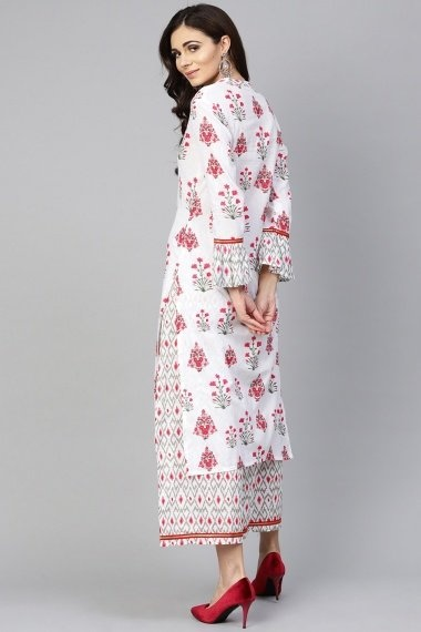 Off White Cotton Printed Straight Cut Kurti with Palazzo and Bell Sleeves