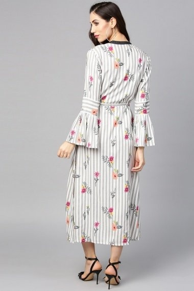 Off White Rayon Kurti with Floral Print