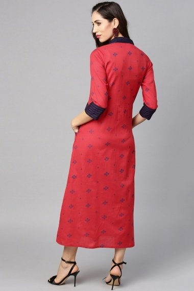 Red Cotton Printed Kurti with Pockets