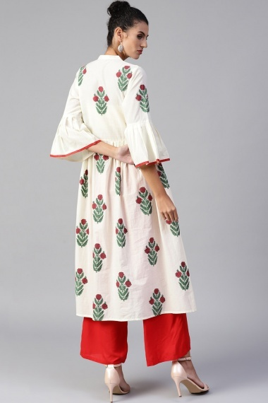 Off White Cotton Printed Kurti with Bell Sleeves