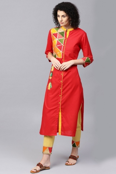 Red Cotton Straight Cut Printed Kurti with Pant