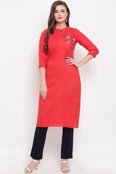 Red Rayon Straight Cut Kurti with Embroidery